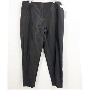 NWT Carlisle black 100% silk high rise pants 18
